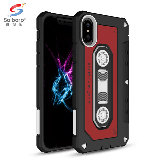 Mobile phone accessories shockproof cover tpu pc tape case for iphone x, for iphone 10 case hybrid, for iphone x cassette case