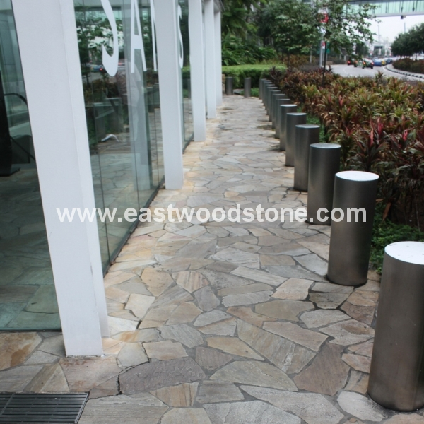Japanese style yellow slate decorative flooring stone garden floor stone slate price m2