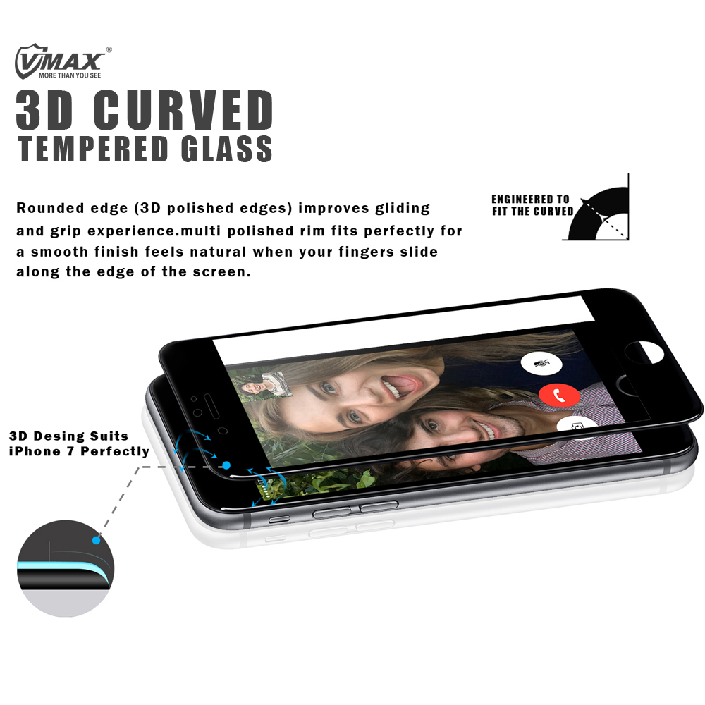 Full Screen Cover !! 0.2mm 3D Curved 9H Hardness Corning tempered glass color screen protector for iPhone 6 / 6 Plus / 7