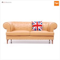 chesterfield style leather lobby sofa