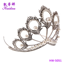 2017 South Africa Miss World Crown Hot Selling Global Crown Tiara Peacock Feathers Pearl Crown Tiaras