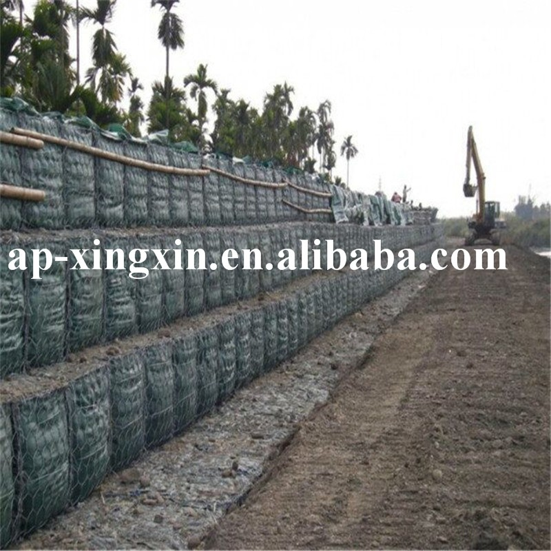 China manufacturer double twisted galvanized hexagonal gabion basket wire mesh