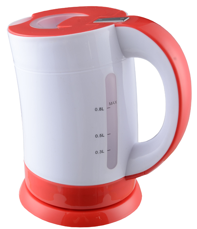 2015 unique design mini 0.8L cordless red travel electric water kettle with LED light good quality