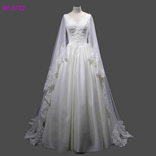 Vintage Modest Wedding Dresses Lace Chiffon Wedding Gowns 2017 Country Wedding Dress with Cape