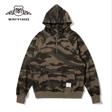 2018 European-American Fashionable Branded 100% Pre-shrunk Cotton Half Zip Camo Hoodies for Men