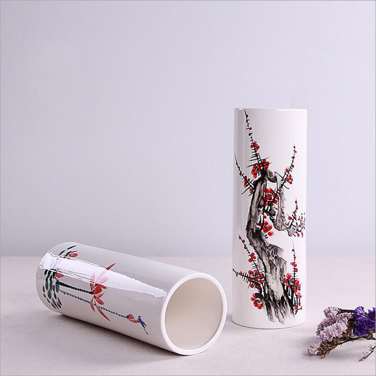 White porcelain hand drawing mountains-and-waters painting ceramic flower vase