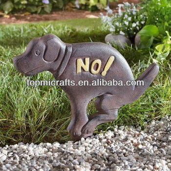 cast iron dog garden sign