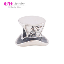 Silk Hat Shape Silver Charms Jewelry Bulk Charms Wholesale