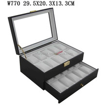 Luxury Matt Lacquer Wooden Watch Display Case With 2 Layers For 20 Watches