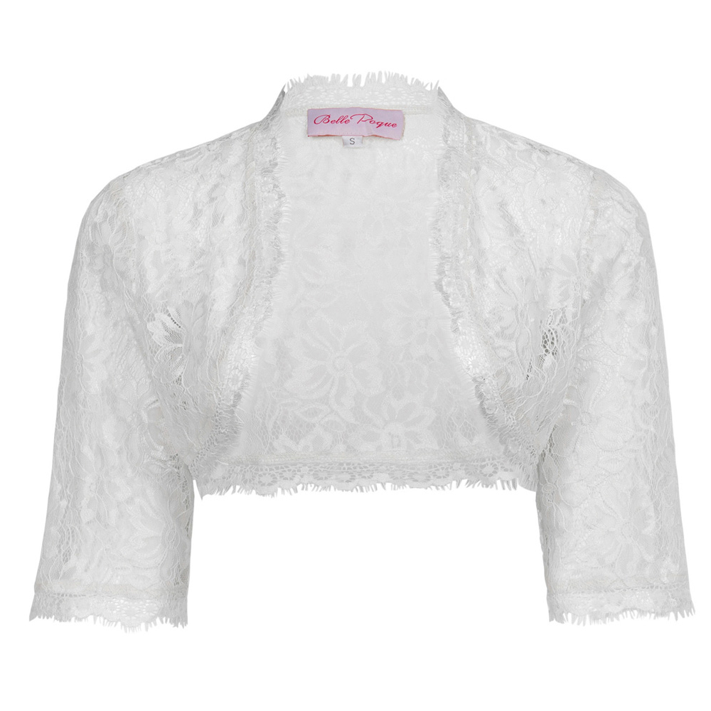 Belle Poque Womens Ladies Wedding Bridal Bridesmaid 3/4 Sleeve White Lace Shrug Bolero BP000319-2