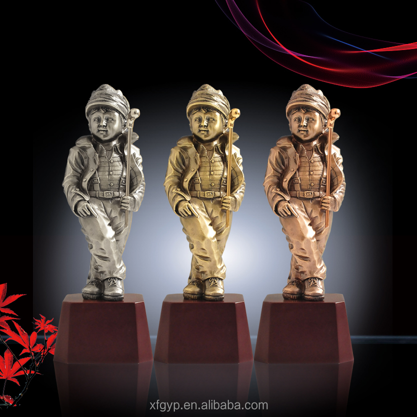 lovely golf boy resin sport trophy award