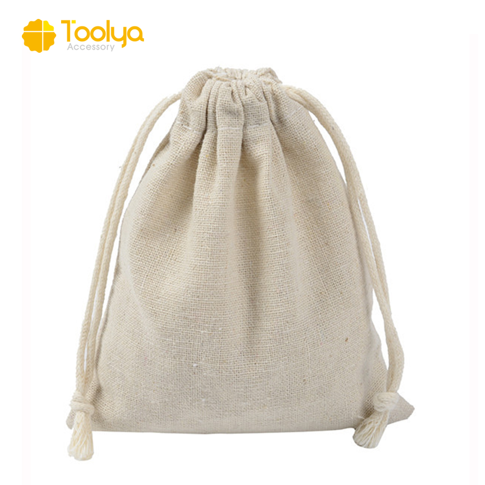 customize promotional eco-friendly 100% cotton canvas drawstring gift bag wholesale jewelry pouch