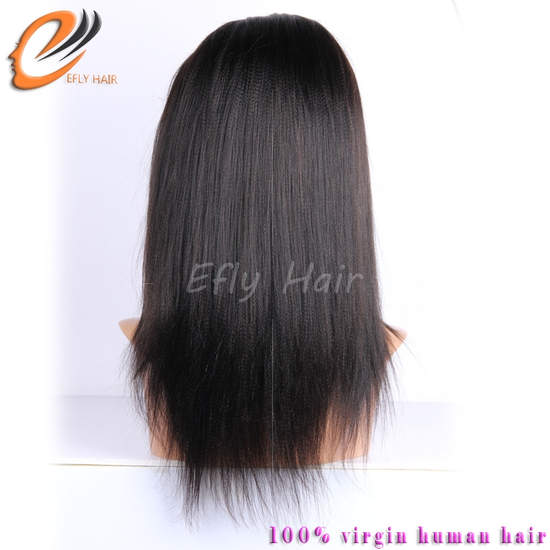 Eflyhair elastic band brazilian hair glueless full lace wig with baby hair