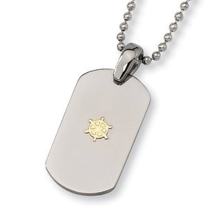 "18K Gold Plated Polished Titanium Dog Tag with 22"" new design Bead Chain pendant"