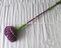 HQ522 squeeze purple polyester & polyamide micro fiber mop/spin mop/cleaning twisted mop with long metal handle