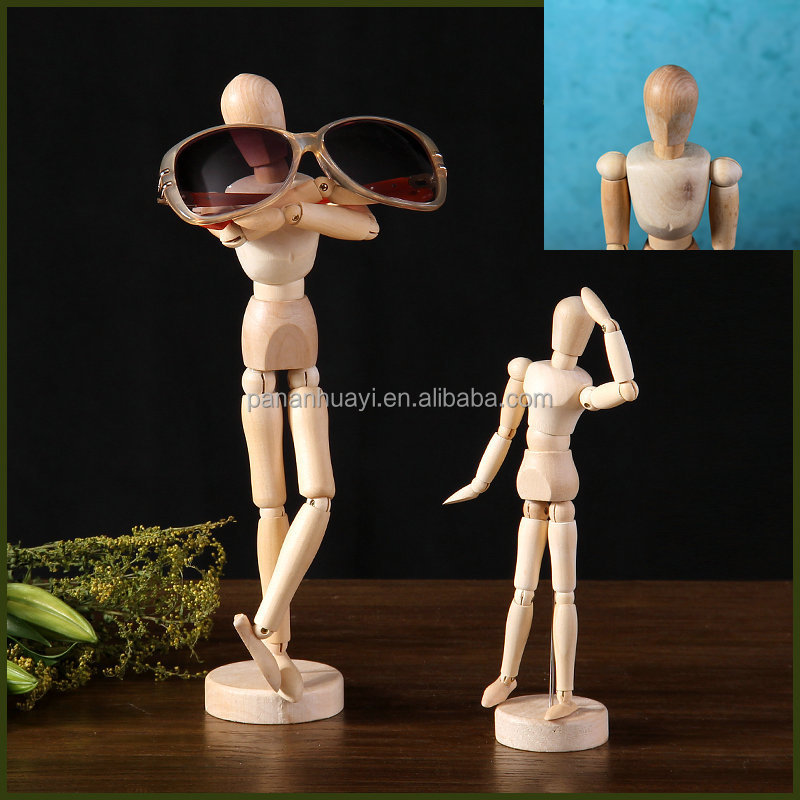 Joinet <strong>Wooden</strong> Manikins Model Eyeglass Holder stand and Toys 4.5inch 5.5inch 8inch 12inch