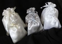 Satin Jewelry Pouch With Printed Ribbon Drawstring