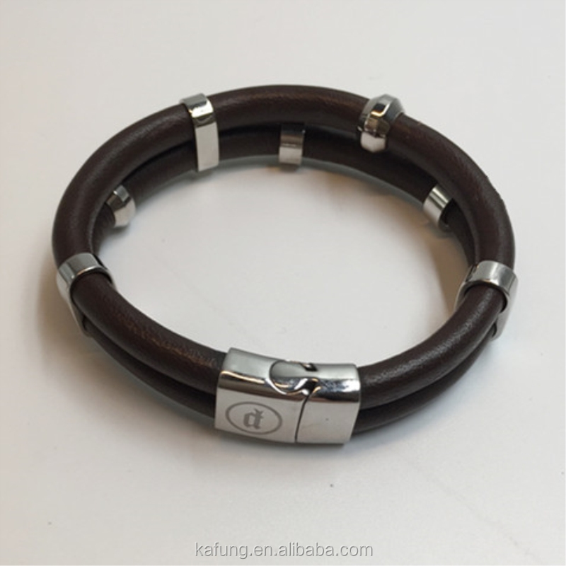 Magnetic Clasp genuine Leather Bracelet, Wristband With Customer Logo,Stainless steel Bracelet for men