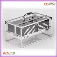 Silver aluminum frame rectangular clear acrylic makeup train case
