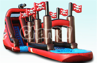 KIDS Birthdays Parties Inflatable Pirate Ship Slide with Swimming Pool