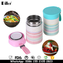 Double wall insulated vacuum stainless steel metal camping thermos takeaway worker food jar warmer container