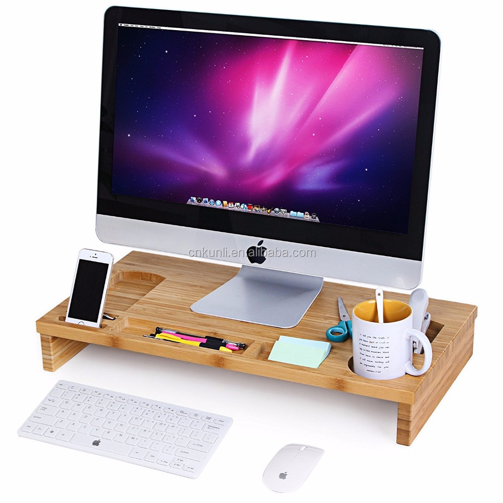 Bamboo Monitor Stand tray with Storage Organizer, Laptop Cellphone TV Printer Stand Desktop Container