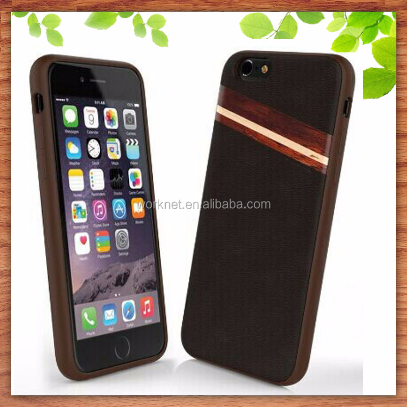 2015 new arrival PU leather case for <strong>apple</strong> for iPhone 6 case, luruxy leather wood case cover for iPhone 6