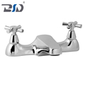 Premium Brass Polished Chrome Deck Two Handle Bath Filler Double Hole for Bathroom
