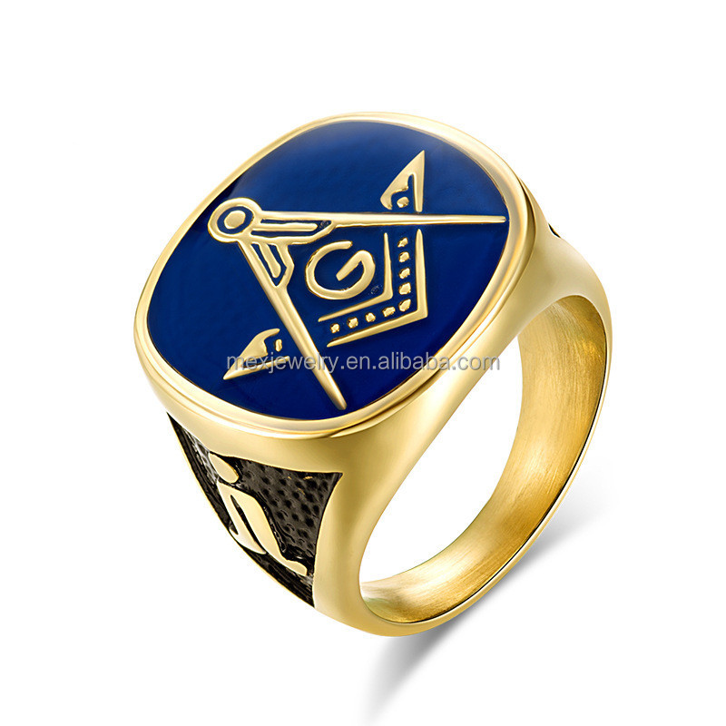 Men Masonic Rings Quality Stainless Steel Jewelry Wedding Band for Men Retro Gold Color Titanium Punk Rings
