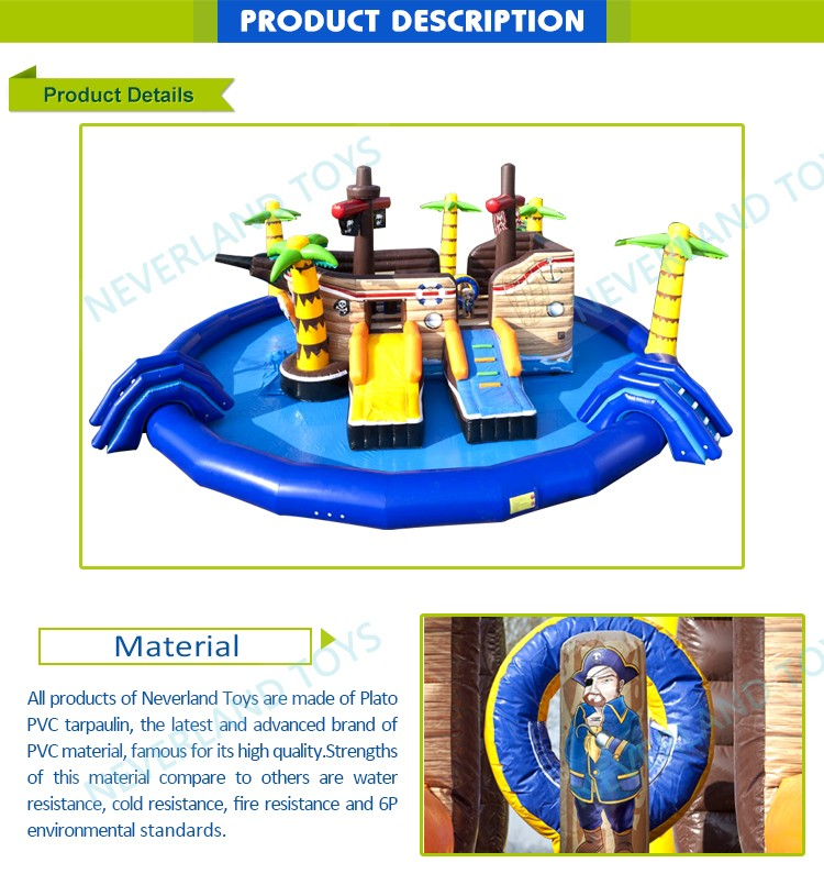 New Design NEVERLAND TOYS Parc Aquatique Bateau Pirate Inflatable Floating Water Park Equipment Price