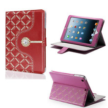 Fasion Buckle Plaid Rhinestone Frame Leather Case for iPad Mini 2 Foldable Stand Smart Cover Case