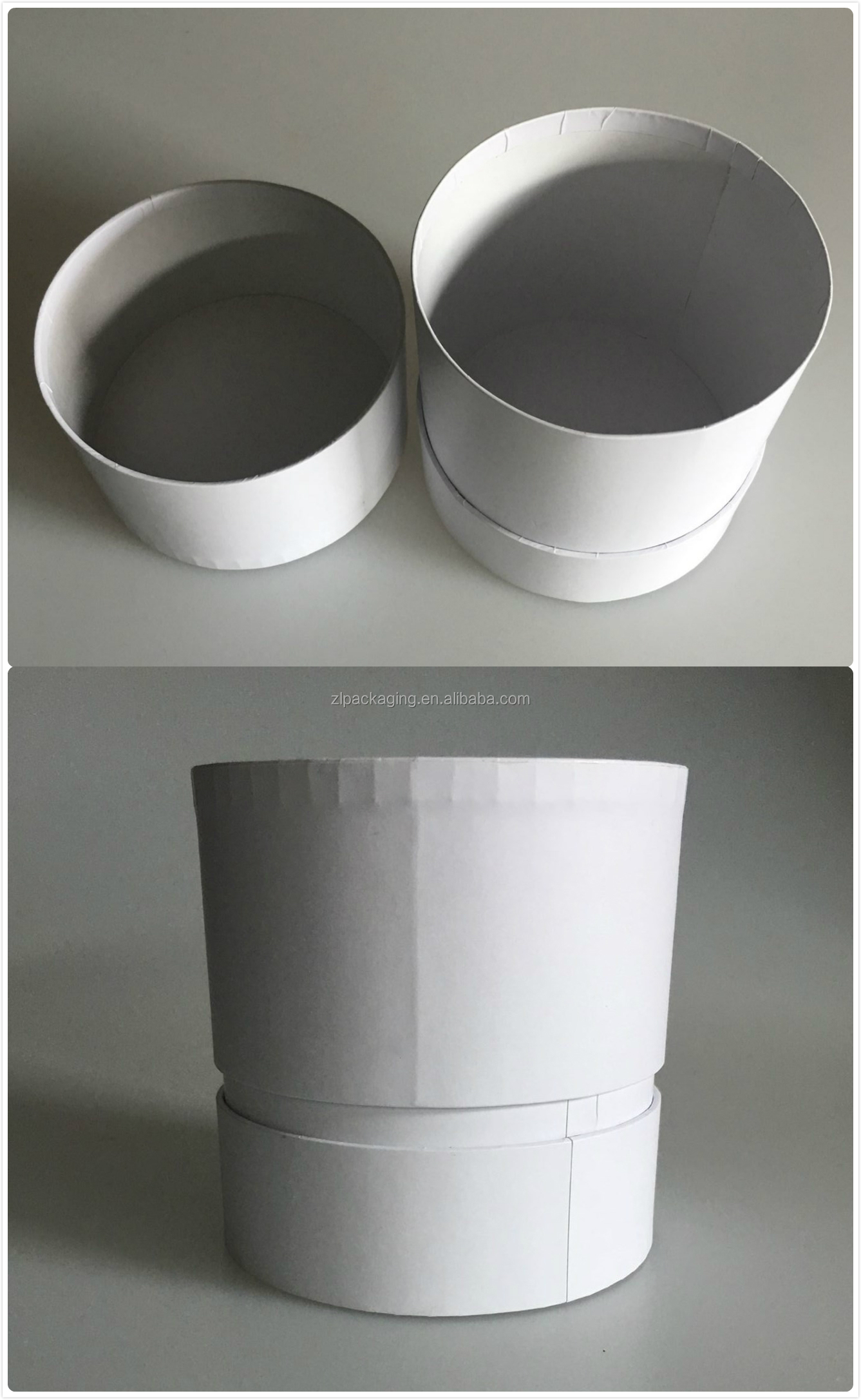 Custom cardboard paper round cylinder gift packaging box with lid