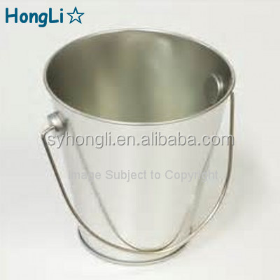 Plain Silver Color Galvanized Metal Tin Bucket / Tin Pails