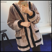 Hot Sale Nature Knitted Mink Fur Coat with Top Quality Mink Pelt for Winter