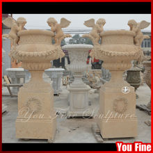 Natural Outdoor Marble Planters Pot With Angel Statue
