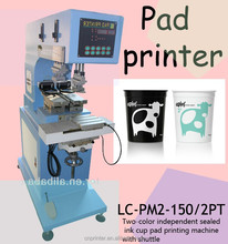 Long performance independent air cylinder 2-color pad printer LC-PM2-150/2PT for eyedrop,juice bottle,plastic cup,toys,cans,bags