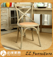 American style hotel use solid wood classic x chair with cane seat