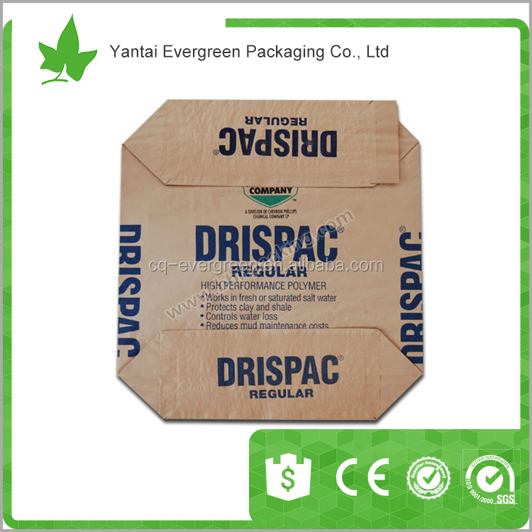Craft paper valve bag / for cement packing, China Evergreen Packaging