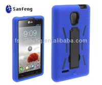 Graceful smart kickstand protecter case for LG optimus L9 silicon case cute blue with black color