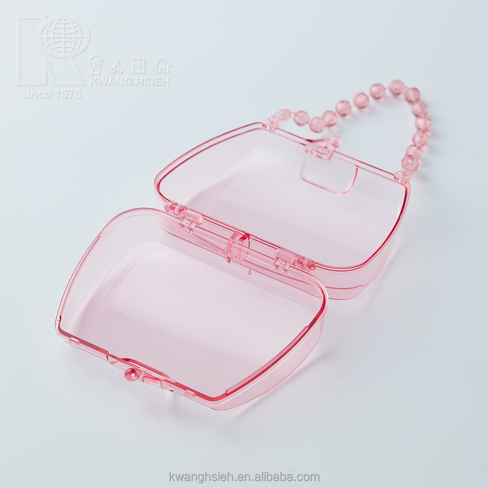 Kwang Hsieh Handbag Shaped Cookie Chewing Gum Plastic Clear Plastic Container with Handle