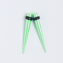 Beautiful pearl effect green acrylic ear taper set