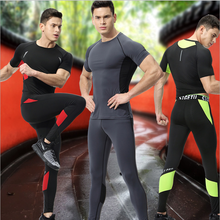 high quality summer sports suits mens cycling clothing fitness wear men running compression tights t-shirt