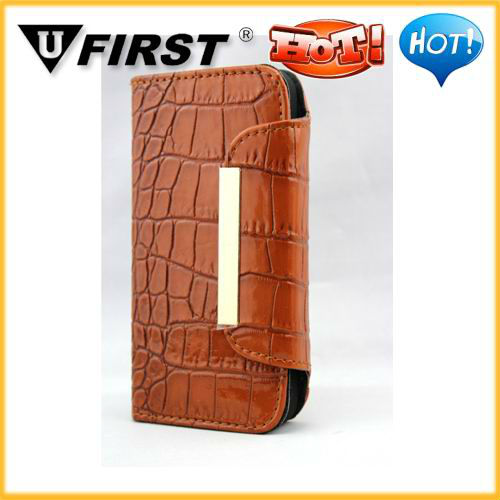 For iphone5 5G Alligator Crocodile Leather Case for iPhone 5 5G with Stand Function,with Credit Card Slot,in stock