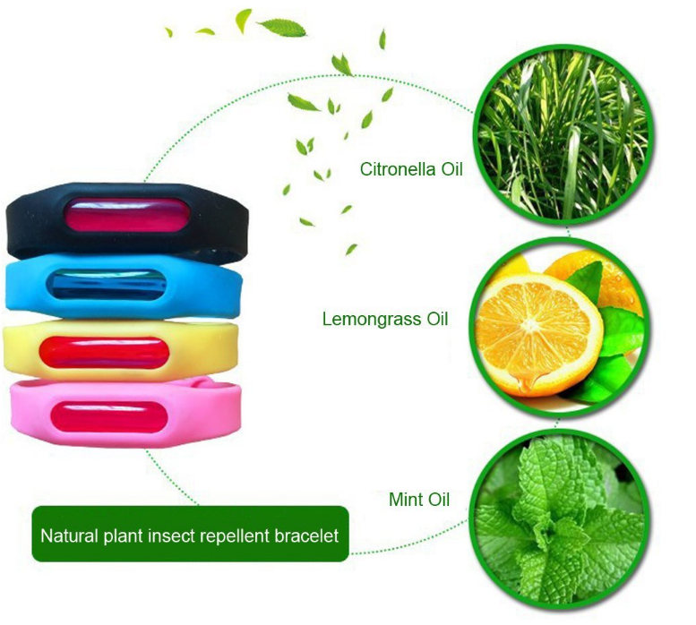 hot selling anti mosquito repellent printed silicone slap bracelet wrist band