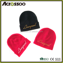 Solid color winter acrylic beanie with embroidery logo /custom embroidered beanie hat