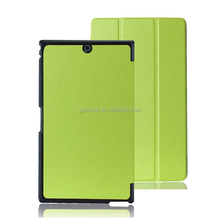 "8"" High quality slim light flip folio stand PU Bumper leather case for Sony Z3 Tablet Compact with auto wake/sleep"
