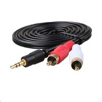 3.5mm Male Stereo Mini plug Jack TO 2 RCA male Phono Audio Speaker cable 3M