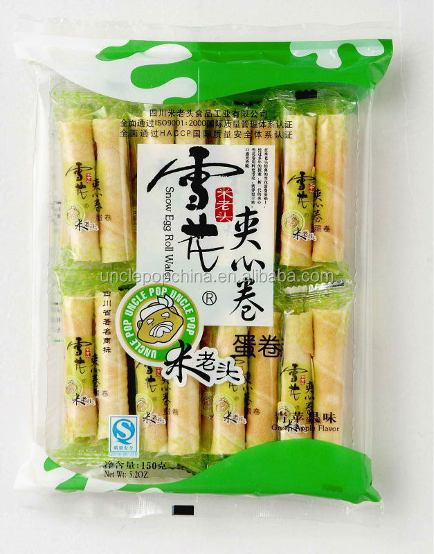 Chinese, Uncle Pop snacks, 150g snow egg roll with filling (green apple flavor)