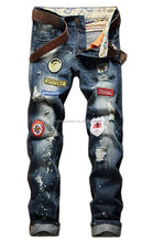 Men's Fashion Ripped Embroidery Badges Slim Skinny Jeans With Paint Splash Effect
