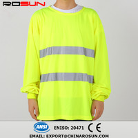 long sleeve T shirt fast dry and breatha yellow fluorescent high visibility vest 3M reflective tape ride sport T shirt